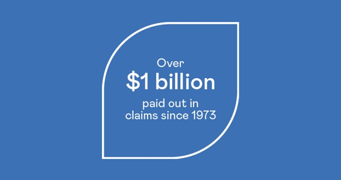 over $1billion in claims paid badge graphic